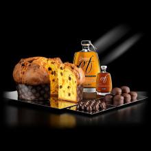 Panettone artigianale Of Bonollo 1kg + Grappa Of Amarone Barrique + Taste Amaro Of 2x50 ml + Coccole Of + Voglie Of